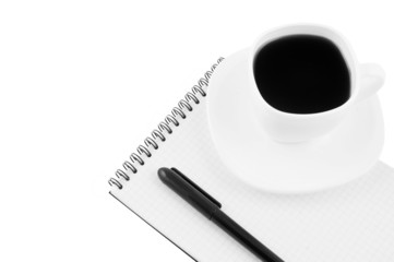 Blank note pad, pen, cup of coffee isolated
