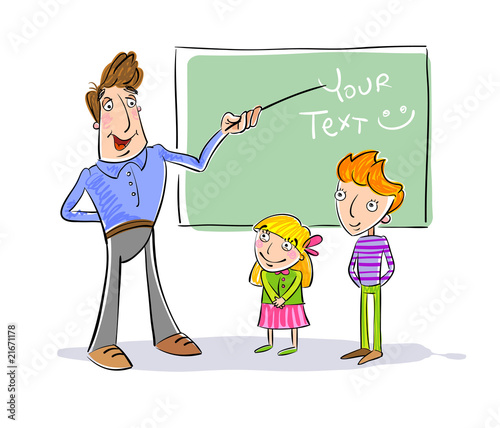Teacher and children in school