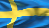 Creased Sweden flag in wind with seams and wrinkle poster