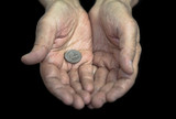 Poverty. Old hands with a single coin of 25 cents poster