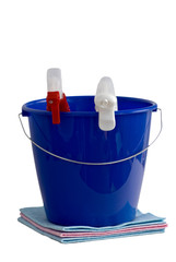Two cleaning spray bottles in a blue bucket