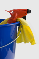 Rubber gloves and a spray bottle in a bucket