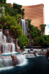 Waterfall and Wynn Hotel, Las Vegas