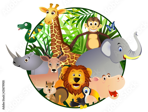 Tuinposter Zoo Safari cartoon
