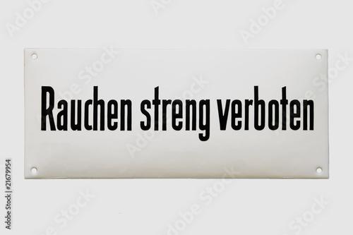 """Leinwanddruck Bild Altes Emailschild """"Rauchen streng verboten"""" um 1930"""