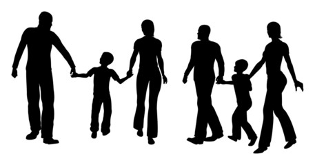 family with son walking silhouette vector