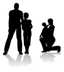 parents with children silhouette vector
