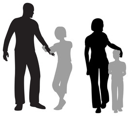 children parents silhouette