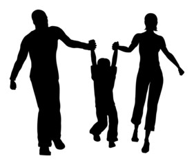 family hold son silhouette vector