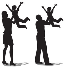 parents with children on hands vector silhouette