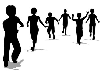 running children silhouette vector