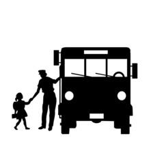 école, bus, transport, illustration