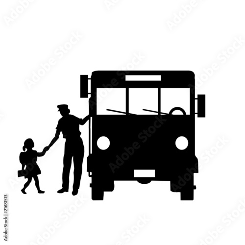 école, bus, transport, illustration