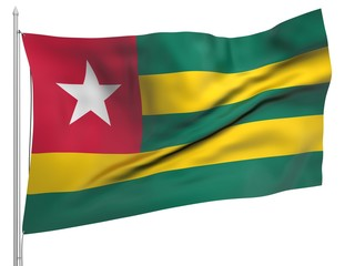 Flying Flag of Togo - All Countries