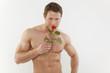 Quadro sexy mann mit rose