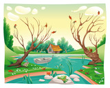 Fototapety Pond and animals. Funny cartoon and vector illustration