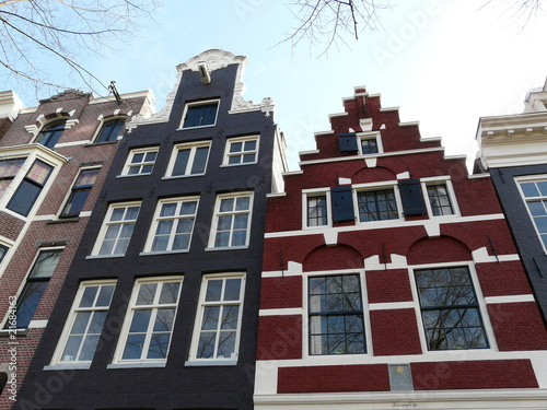 Old houses on the canals in Amsterdam