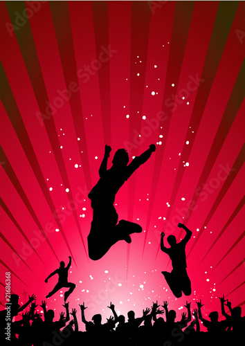 Happy people having fun in an abstract background