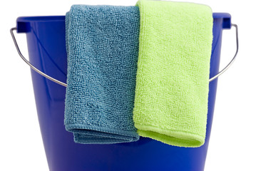 Two Cleaning microfiber cloths a blue bucket
