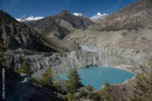 Nepal. Emerald glacial lake near Manang.