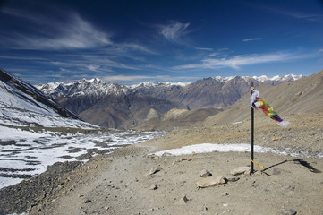 View from Thorung La Pass, Annapurna Conservation Area, Nepal.