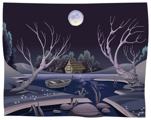 Pond in the night. Funny cartoon and vector illustration