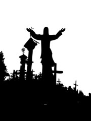 hill of crosses jesus crucifix vector