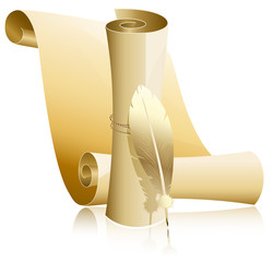 Vector illustration. Paper scroll with feather.