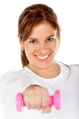 Woman with free-weights