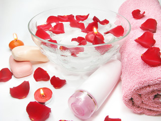 spa candles and bathing accessories