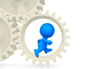 3D man running on gears