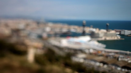 panoramic view of the city of barcelona, tilt and shift