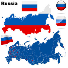 Russia vector set. Shape, flags and icons.
