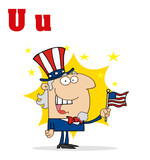 Funny Cartoons Alphabet-Uncle Sam With Letters U poster