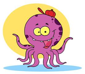 Purple Octopus Wearing A Hat