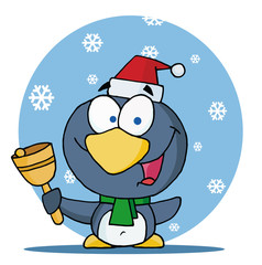 Christmas Penguin Ringing A Bell In The Snow