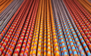 Macro closeup, shallow DOF of colourful long length ropes