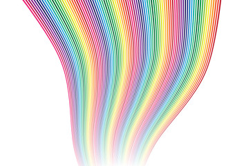 A colorful vector rainbow decoration in wavey curves