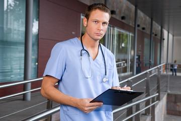 Doctor outside hospital