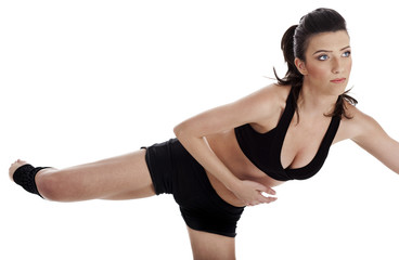 Woman doing fitness exercise in home