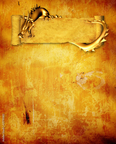 Leinwanddruck Bild Grunge background with dragon and scroll