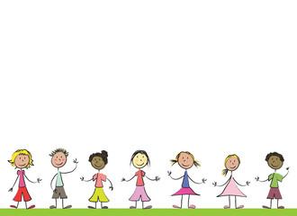 enfants bord de feuille A4 paysage