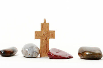 Wooden Cross and Stones