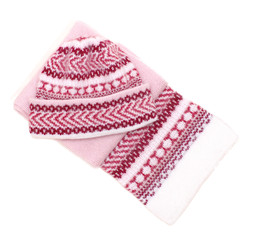 woolens tuque and comforter on white