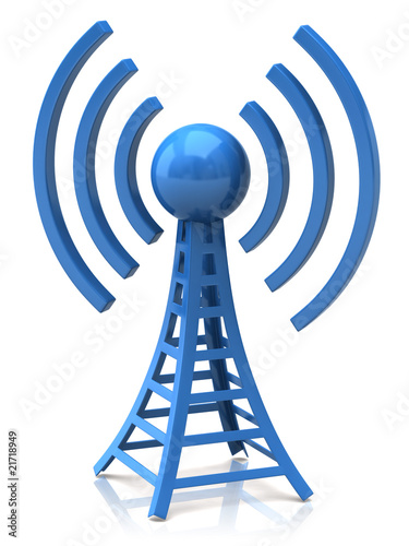 wireless tower with radio waves