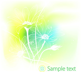 Spring flowers on watercolor background. Vector illustration.