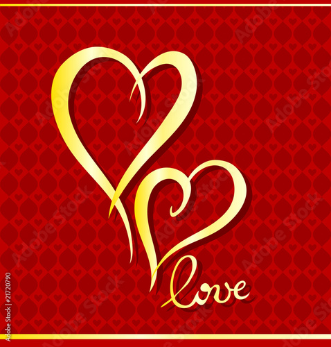 Valentine Vector greeting card with hearts
