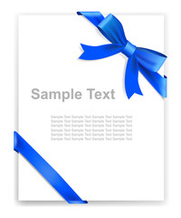 Greeting card or the certificate, blue tape and bow.