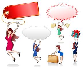 Businesswomen jumping with speech bubbles