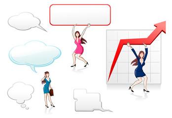 Businesswomen with arrow and speech bubbles